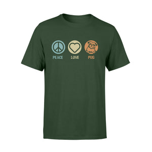 Peace love Pug hippie pug dog lovers T Shirts - IPH371