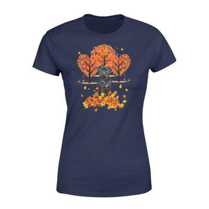 Cute Black Pug dog puppies under the autumn tree fall leaf - beautiful fall season Woman T-shirt - Halloween, Thanksgiving, birthday gift ideas for dog mom, dog dad, dog lovers - IPH474