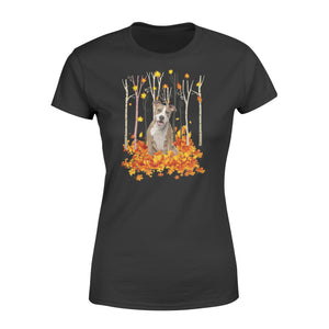 Cute American Staffordshire Terrier dog puppies under the autumn tree fall leaf - beautiful fall season Woman T-shirt - Halloween, Thanksgiving, birthday gift ideas for dog mom, dog dad, dog lovers - IPH479