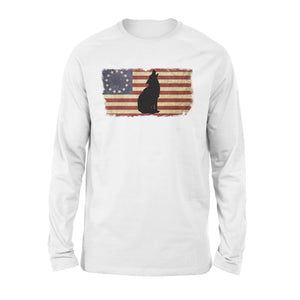Vintage Betsy Ross Flag howling Wolf long sleeve shirt design - IPH272