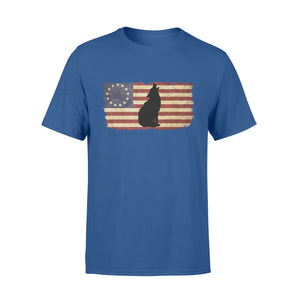 Vintage Betsy Ross Flag howling Wolf T shirt design - IPH272