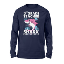 Load image into Gallery viewer, Funny Shirts Teacher shark,Gift for Teacher Plus Size, Teacher Shirt, Long Sleeve Shirt -QTS69 Color Black, Blue