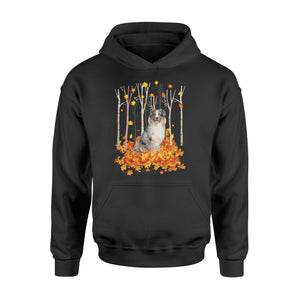 Cute Australian Shepherd dog puppies under the autumn tree fall leaf - beautiful fall season Hoodie shirt - Halloween, Thanksgiving, birthday gift ideas for dog mom, dog dad, dog lovers - IPH480