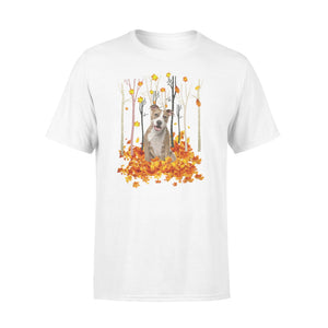 Cute American Staffordshire Terrier dog puppies under the autumn tree fall leaf - beautiful fall season T-shirt - Halloween, Thanksgiving, birthday gift ideas for dog mom, dog dad, dog lovers - IPH479