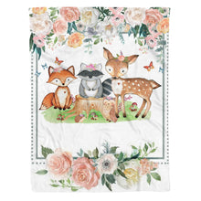 Load image into Gallery viewer, Woodland Fox Raccoon Deer Floral Fleece Blanket