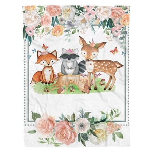 Woodland Fox Raccoon Deer Floral Fleece Blanket
