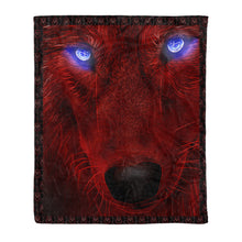 Load image into Gallery viewer, Blue eyes Wolf Throw Fleece Blanket - MTH8