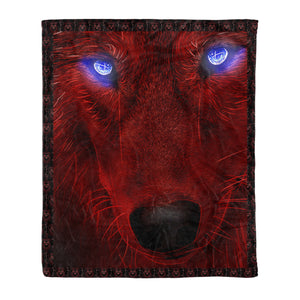Blue eyes Wolf Throw Fleece Blanket - MTH8