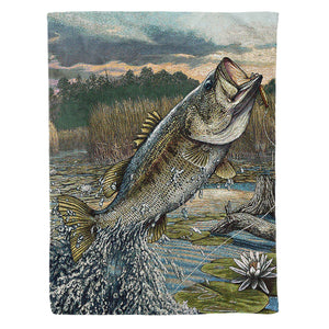 Bass fishing fleece blanket