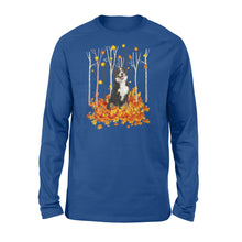 Load image into Gallery viewer, Cute Bernese Mountain dog puppies under the autumn tree fall leaf - beautiful fall season Long sleeve shirt - Halloween, Thanksgiving, birthday gift ideas for dog mom, dog dad, dog lovers - IPH444
