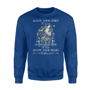 "Beautiful howling wolves with dream catcher Sweat shirt - quote ""Allow your spirit to lead, allow your mind to free, allow your heart to search"" - great gift ideas for wolf lovers - IPH454"