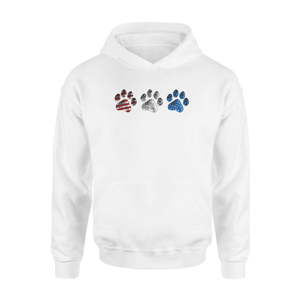 Red White Blue American Flag Dog paws Hoodie shirt design gift ideas for Dog lovers  - SPH85