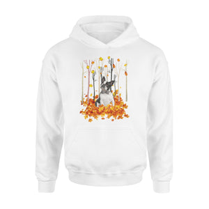 Cute Boston Terrier dog puppies under the autumn tree fall leaf - beautiful fall season Hoodie shirt - Halloween, Thanksgiving, birthday gift ideas for dog mom, dog dad, dog lovers - IPH484