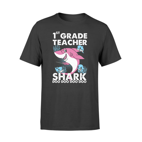 PQB Funny Shirts Teacher shark,Gift for Teacher Plus Size T Shirt -QTS68 Color Black, Blue, Green, Red