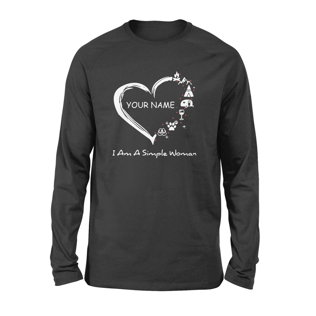 Love Camping custom name Shirt I am a simple women, personalized camping shirt for girl, women - QTS55