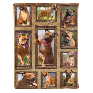 3D Staffordshire Bull Terrier dog Throw Fleece Blanket - 3DTH172