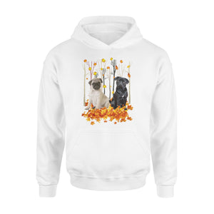 Cute Pugs  dog puppies under the autumn tree fall leaf - beautiful fall season Hoodie shirt - Halloween, Thanksgiving, birthday gift ideas for dog mom, dog dad, dog lovers - IPH427