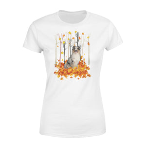 Cute Australian Shepherd dog puppies under the autumn tree fall leaf - beautiful fall season Woman T-shirt - Halloween, Thanksgiving, birthday gift ideas for dog mom, dog dad, dog lovers - IPH480