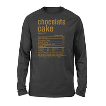Load image into Gallery viewer, Chocolate cake nutritional facts happy thanksgiving funny shirts - Standard Long Sleeve