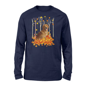 Cute Golden Retriever dog puppies under the autumn tree fall leaf - beautiful fall season Long sleeve shirt - Halloween, Thanksgiving, birthday gift ideas for dog mom, dog dad, dog lovers - IPH488
