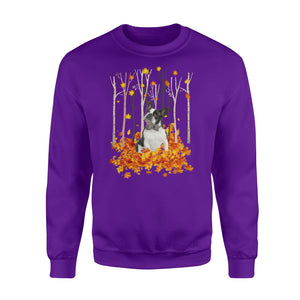 Cute Boston Terrier dog puppies under the autumn tree fall leaf - beautiful fall season Sweat shirt - Halloween, Thanksgiving, birthday gift ideas for dog mom, dog dad, dog lovers - IPH484