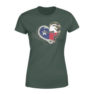 TX Texas Love Hunting Fishing Flag Fish hook Hunting Camo Custom Women T-shirt  design - personalized gift for hunting, fishing lovers - IPH1560