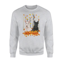 Load image into Gallery viewer, Cute Scotties dog puppies under the autumn tree fall leaf - beautiful fall season Sweat shirt - Halloween, Thanksgiving, birthday gift ideas for dog mom, dog dad, dog lovers - IPH428