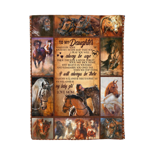 To my daughter Horse Fleece Blanket