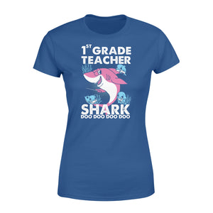 Funny Shirts Teacher shark,Gift for Teacher Plus Size Women T Shirt -QTS68 Color Black, Blue