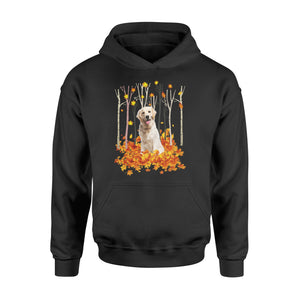 Cute Labrador Retriever dog puppies under the autumn tree fall leaf - beautiful fall season Hoodie shirt - Halloween, Thanksgiving, birthday gift ideas for dog mom, dog dad, dog lovers - IPH489