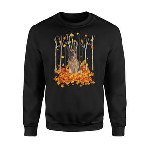 Cute German Shepherd dog puppies under the autumn tree fall leaf - beautiful fall season Sweat shirt - Halloween, Thanksgiving, birthday gift ideas for dog mom, dog dad, dog lovers - IPH487