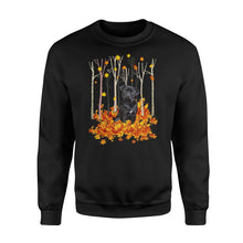 Load image into Gallery viewer, Cute Black Pug dog puppies under the autumn tree fall leaf - beautiful fall season Sweat shirt - Halloween, Thanksgiving, birthday gift ideas for dog mom, dog dad, dog lovers - IPH430