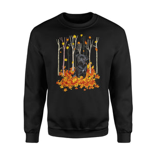 Cute Black Pug dog puppies under the autumn tree fall leaf - beautiful fall season Sweat shirt - Halloween, Thanksgiving, birthday gift ideas for dog mom, dog dad, dog lovers - IPH430