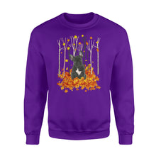 Load image into Gallery viewer, Cute French Bulldog dog puppies under the autumn tree fall leaf - beautiful fall season Sweat shirt - Halloween, Thanksgiving, birthday gift ideas for dog mom, dog dad, dog lovers - IPH486