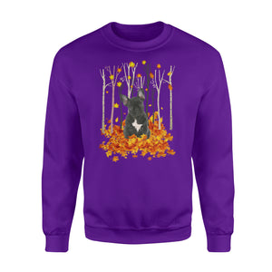 Cute French Bulldog dog puppies under the autumn tree fall leaf - beautiful fall season Sweat shirt - Halloween, Thanksgiving, birthday gift ideas for dog mom, dog dad, dog lovers - IPH486