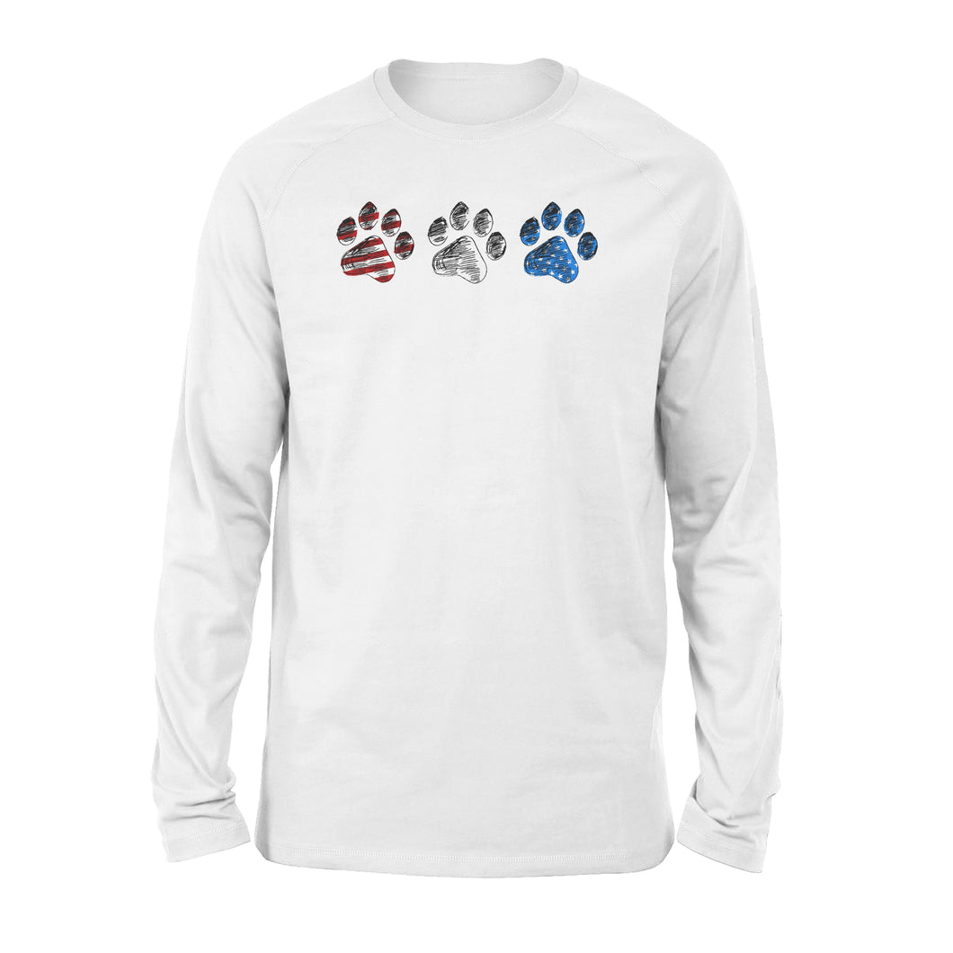 Red White Blue American Flag Dog paws Long sleeve shirt design gift ideas for Dog lovers  - SPH85