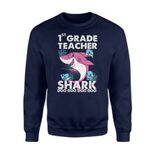Load image into Gallery viewer, PQB Funny Shirts Teacher shark,Gift for Teacher Plus Size Sweatshirt -QTS68 Color Black, Blue