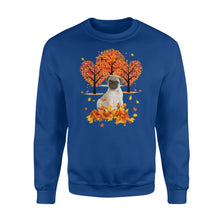 Load image into Gallery viewer, Cute Fawn Pug dog puppies under the autumn tree fall leaf - beautiful fall season Sweat shirt - Halloween, Thanksgiving, birthday gift ideas for dog mom, dog dad, dog lovers - IPH476
