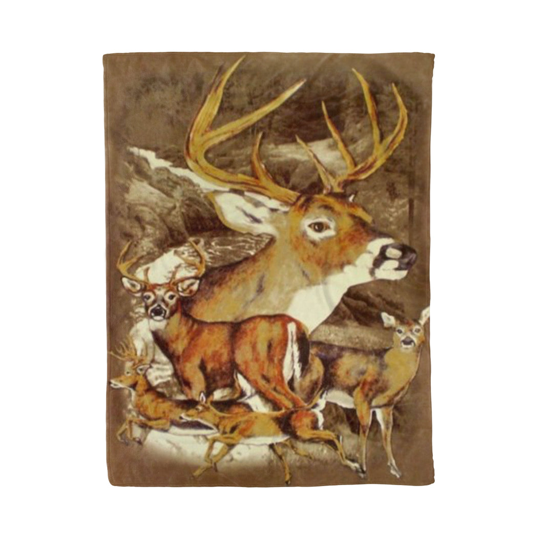 Running Deer Brown Fleece Blanket