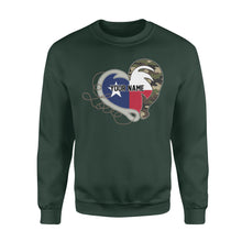 Load image into Gallery viewer, TX Texas Love Hunting Fishing Flag Fish hook Hunting Camo Custom Sweatshirt design - personalized gift for hunting, fishing lovers - IPH1560