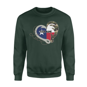 TX Texas Love Hunting Fishing Flag Fish hook Hunting Camo Custom Sweatshirt design - personalized gift for hunting, fishing lovers - IPH1560