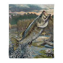 Load image into Gallery viewer, Bass fishing fleece blanket