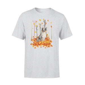 Cute Australian Shepherd dog puppies under the autumn tree fall leaf - beautiful fall season T-shirt - Halloween, Thanksgiving, birthday gift ideas for dog mom, dog dad, dog lovers - IPH480