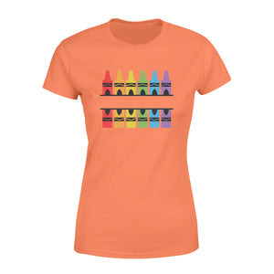 Customize Name Crayon Split Monogram, Teacher Crayon, School, Crayon Shirt Svg, Kindergarten Pre-K - QTS133 - Standard Women's T-shirt
