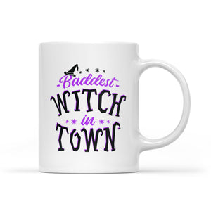 "Funny Custom Halloween mug ""Baddest witch in town"" - awesome Halloween Customize gift ideas for sisters, best friends - best personalized present to give - IPH2047"