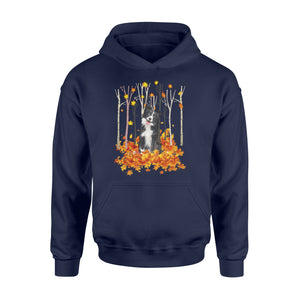 Cute Border Collie dog puppies under the autumn tree fall leaf - beautiful fall season Hoodie shirt - Halloween, Thanksgiving, birthday gift ideas for dog mom, dog dad, dog lovers - IPH483