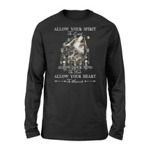 "Load image into Gallery viewer, Beautiful howling wolves with dream catcher Long sleeve shirt - quote ""Allow your spirit to lead, allow your mind to free, allow your heart to search"" - great gift ideas for wolf lovers - IPH454"