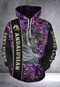 Andalusian Horse Lady Camo all over print hoodie shirt  - IPH637