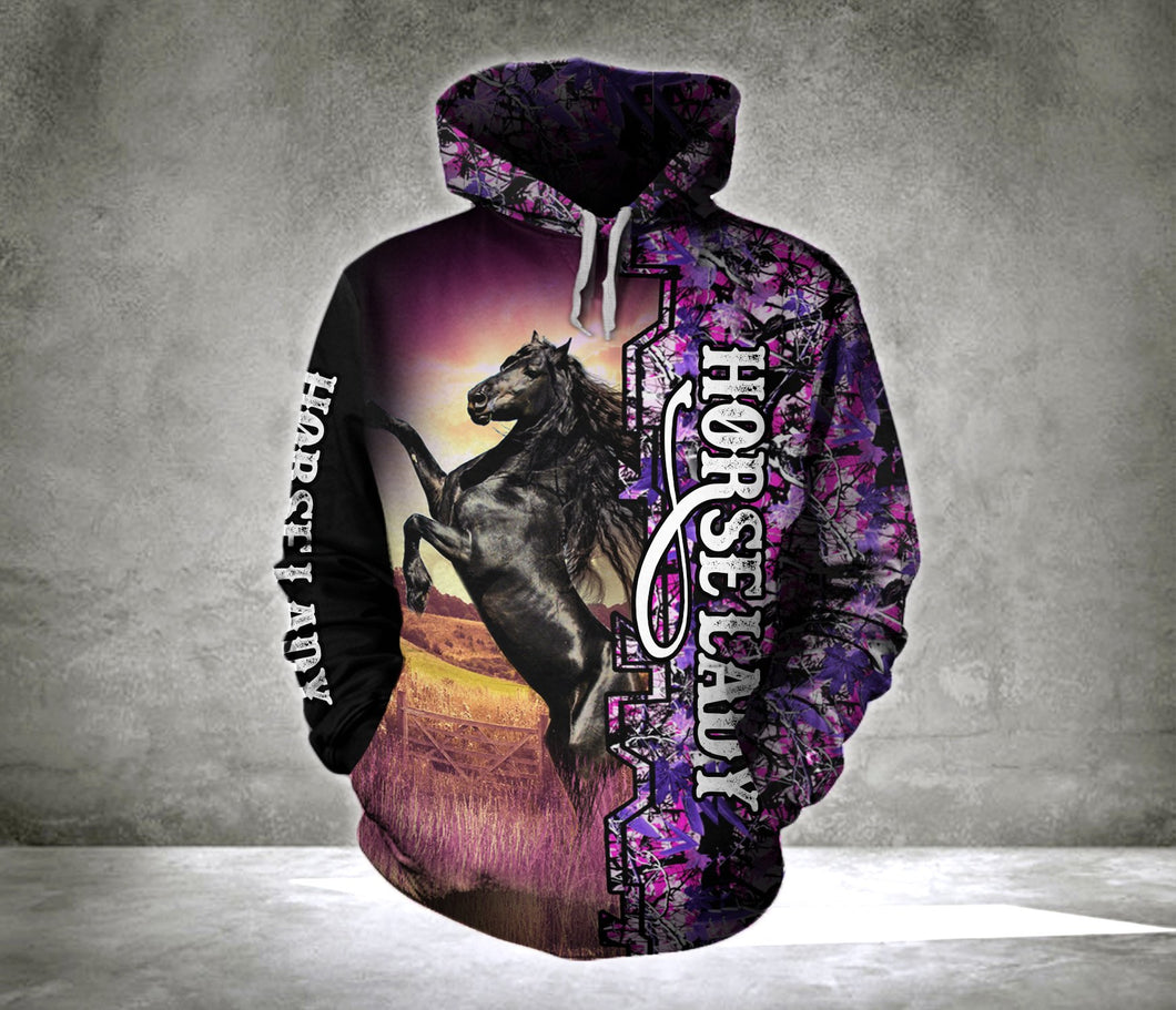 Riding Andalusian Horse Lady Camo background all over print hoodie shirt - IPH639