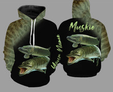 Load image into Gallery viewer, PQB1 Personalized Muskie fishing 3D full printing long sleeves shirt, hoodie for adult and kid